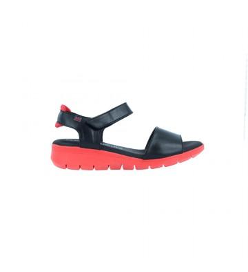 Calzados Vesga Sandalias Casual con Cuña para Mujer de Pepe Menargues 10003 Color Negro y Rojo Foto 1