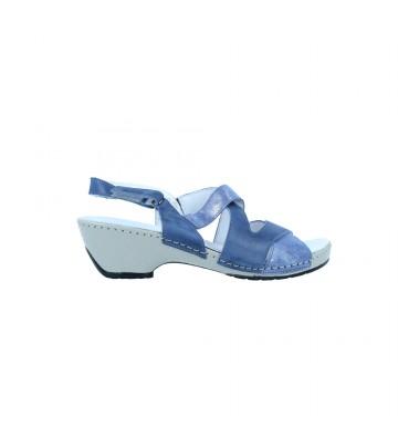 Calzados Vesga Sandalias Casual con Tacón para Mujer de Suave 3800 Color Azules Foto 1