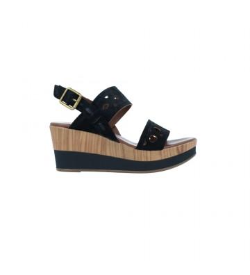 Calzados Vesga Sandalias Casual con Cuña y Plataforma Mujer de Alpe 4663 Color Serraje Negro Foto 1