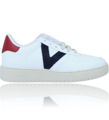 Calzados Vesga Zapatillas Deportivas Sneakers Vegana para Mujer de Victoria 129101 color blanco y marino foto 1