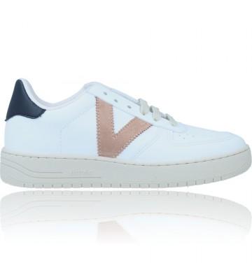 Calzados Vesga Zapatillas Deportivas Sneakers Vegana para Mujer de Victoria 129101 color blanco y taupe foto 1