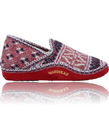 Calzados Vesga Zapatillas de Casa para Mujer de Nordikas Classic Sra 2000 color rojo y azul foto 1