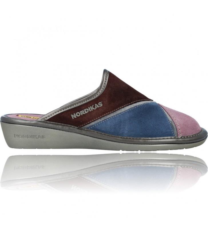 Calzados Vesga Zapatillas de Casa de Piel sin Talón para Mujer de Nordikas Top Line Sra 1362-0 color multi rosa foto 1