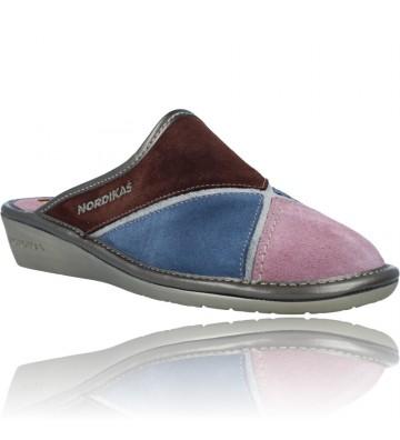 Calzados Vesga Zapatillas de Casa de Piel sin Talón para Mujer de Nordikas Top Line Sra 1362-0 color multi rosa foto 2