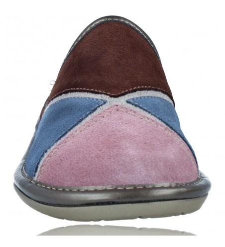 Calzados Vesga Zapatillas de Casa de Piel sin Talón para Mujer de Nordikas Top Line Sra 1362-0 color multi rosa foto 3