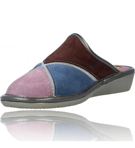 Calzados Vesga Zapatillas de Casa de Piel sin Talón para Mujer de Nordikas Top Line Sra 1362-0 color multi rosa foto 4