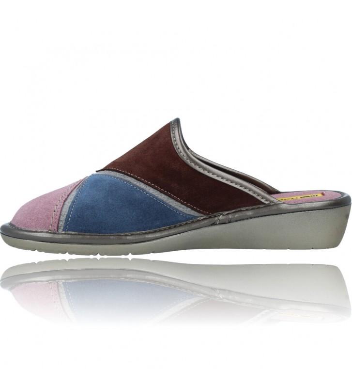 Calzados Vesga Zapatillas de Casa de Piel sin Talón para Mujer de Nordikas Top Line Sra 1362-0 color multi rosa foto 5