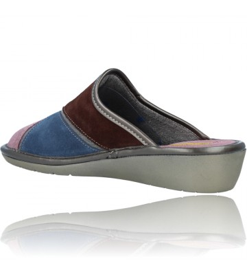 Calzados Vesga Zapatillas de Casa de Piel sin Talón para Mujer de Nordikas Top Line Sra 1362-0 color multi rosa foto 6