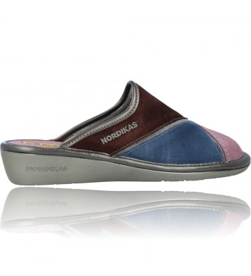 Calzados Vesga Zapatillas de Casa de Piel sin Talón para Mujer de Nordikas Top Line Sra 1362-0 color multi rosa foto 9