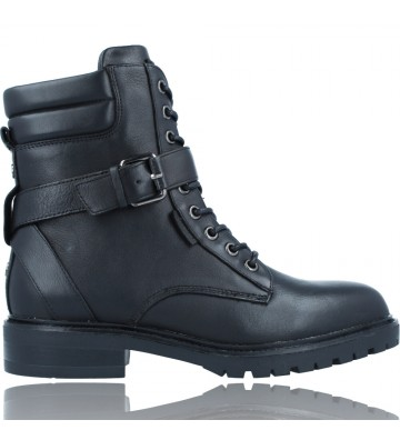 Calzados Vesga Botas Militares Moteras con Hebilla y Cordones de Piel para Mujer de Carmela 67917 color negro foto 1