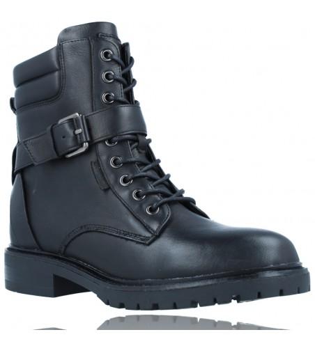 Calzados Vesga Botas Militares Moteras con Hebilla y Cordones de Piel para Mujer de Carmela 67917 color negro foto 2