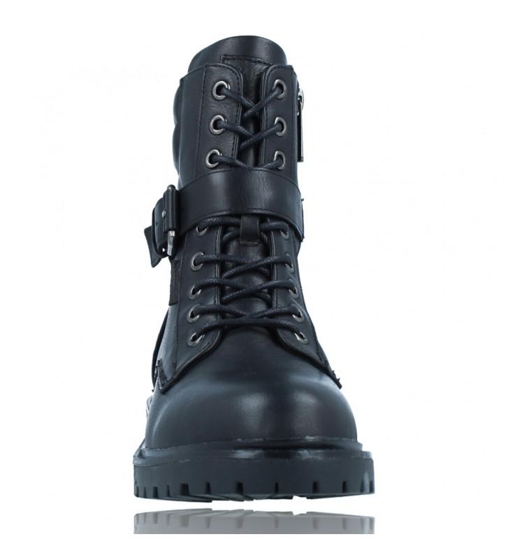 Calzados Vesga Botas Militares Moteras con Hebilla y Cordones de Piel para Mujer de Carmela 67917 color negro foto 3