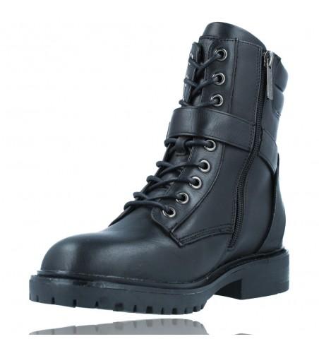 Calzados Vesga Botas Militares Moteras con Hebilla y Cordones de Piel para Mujer de Carmela 67917 color negro foto 4