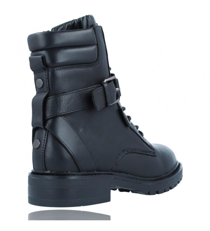 Calzados Vesga Botas Militares Moteras con Hebilla y Cordones de Piel para Mujer de Carmela 67917 color negro foto 8