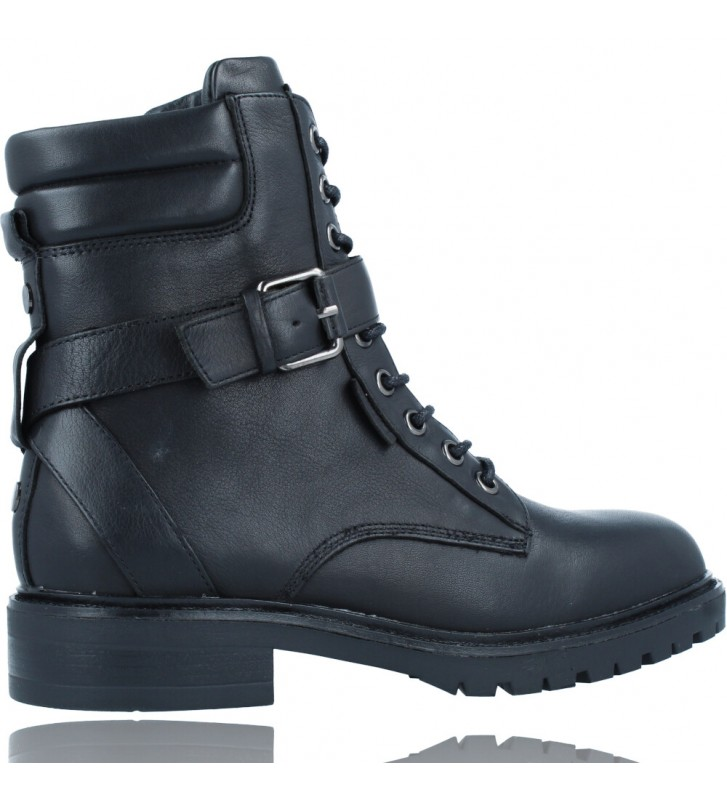 Calzados Vesga Botas Militares Moteras con Hebilla y Cordones de Piel para Mujer de Carmela 67917 color negro foto 9