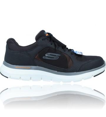 Calzados Vesga Zapatillas Deportivas de Piel Waterproof para Hombres de Skechers 232222 Flex Advantage 4.0 color negro foto 1