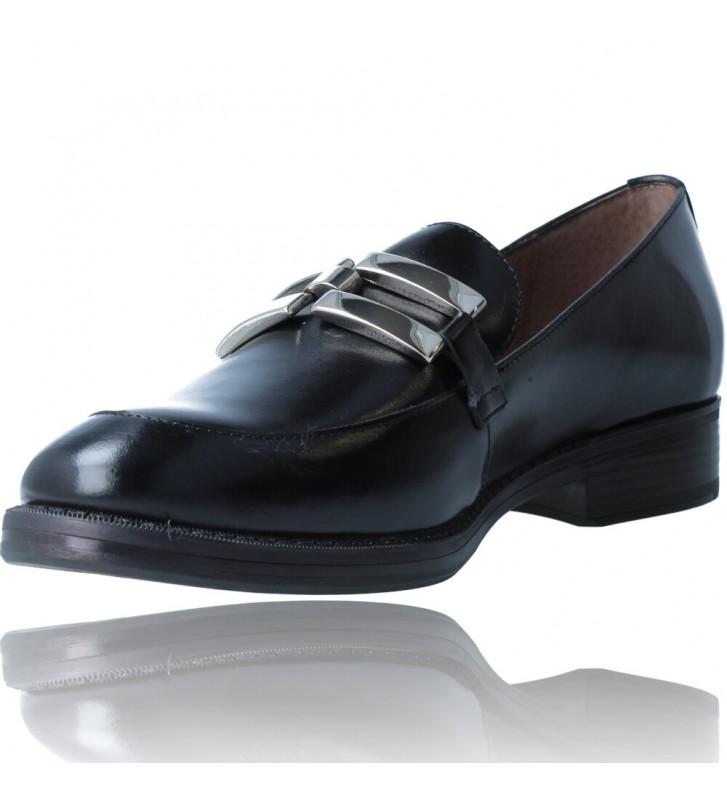 Calzados Vesga Zapatos Mocasines de Piel para Mujer de Wonders A-7250 color negro foto 4