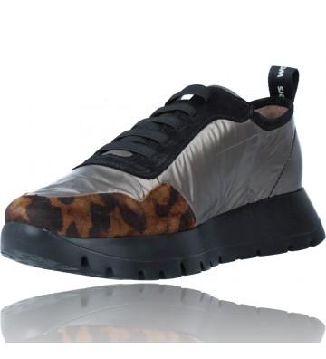 Calzados Vesga Zapatillas Deportivas Casual de Piel para Mujer de Wonders Luna A-2416 color leopardo foto 4