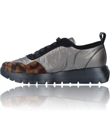 Calzados Vesga Zapatillas Deportivas Casual de Piel para Mujer de Wonders Luna A-2416 color leopardo foto 5