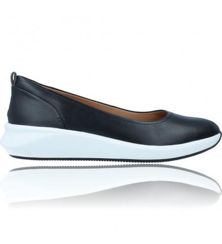 Calzados Vesga Zapatos Bailarinas Casual de Piel para Mujer de Clarks Unstructured Un Rio Vibe color negro foto 1