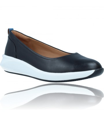 Calzados Vesga Zapatos Bailarinas Casual de Piel para Mujer de Clarks Unstructured Un Rio Vibe color negro foto 2
