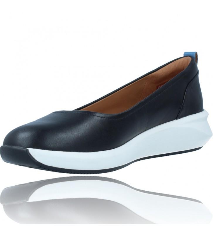 Calzados Vesga Zapatos Bailarinas Casual de Piel para Mujer de Clarks Unstructured Un Rio Vibe color negro foto 4