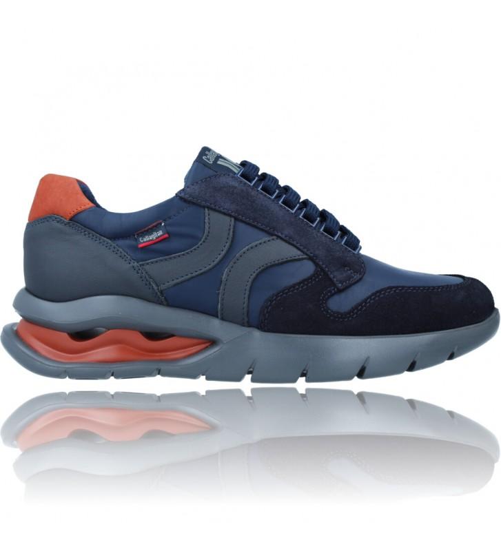 Calzados Vesga Zapatos Deportivos de Piel con Cordones para Hombre de Callaghan Adaptaction 45405 Vento color azul foto 1