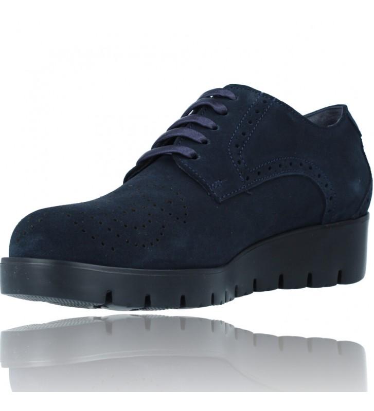 Calzados Vesga Zapatos Casual de Piel con Cordones para Mujer de Callaghan Adaptaction Haman 89880 color nobuck marino foto 4