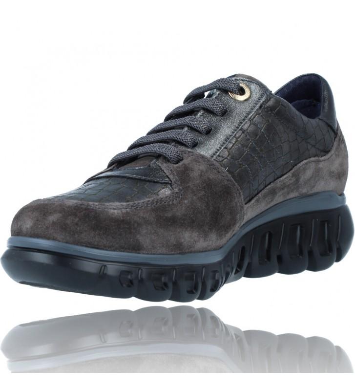 Calzados Vesga Zapatillas Deportivas Casual de Piel para Mujer de Callaghan Sirena 13920 color nobuck gris foto 4