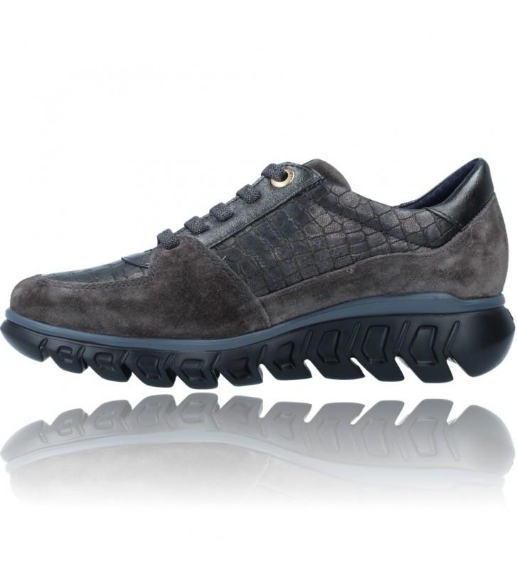 Calzados Vesga Zapatillas Deportivas Casual de Piel para Mujer de Callaghan Sirena 13920 color nobuck gris foto 5
