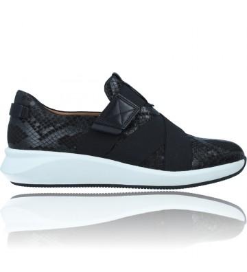 Calzados Vesga Zapatos Casual de Piel para Mujer de Clarks Un Rio Strap color negro foto 1