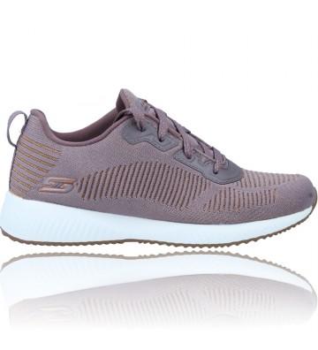 Calzados Vesga Zapatillas Deportivas Sneakers Casual para Mujer de Skechers Bobs Squad 31347 color malva y oro foto 1