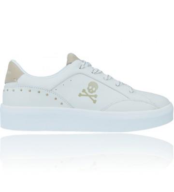 Calzados Vesga Zapatillas Deportivas Casual Sneakers de Piel para Mujeres de Scalpers 30010 Lilou color blanco y oro foto 1