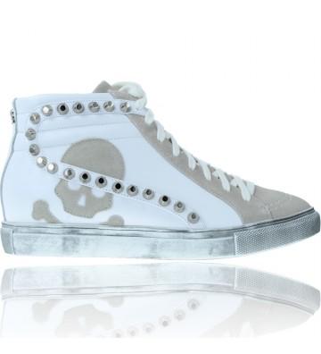 Calzados Vesga Zapatillas Deportivas Botines Sneakers de Piel para Mujer de Scalpers Studs 30069 color blanco foto 1
