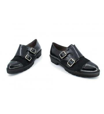 Wonders A-3404 Women Urban shoes 2 Buckles Black
