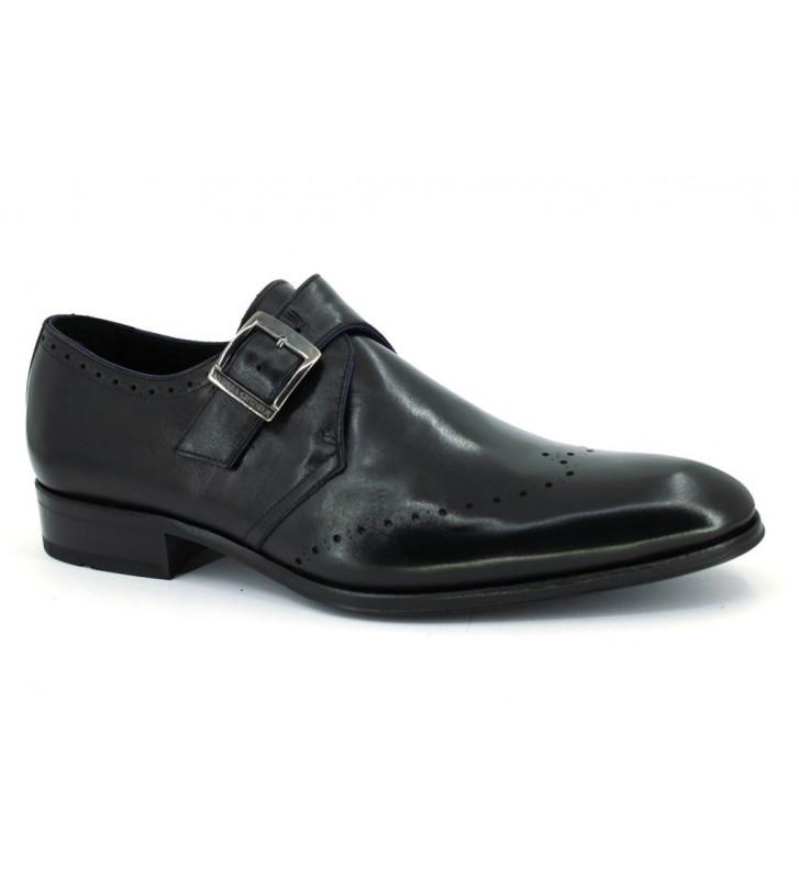Andrea Chenier 713 Zapatos Hebilla Vestir Hombre Negro