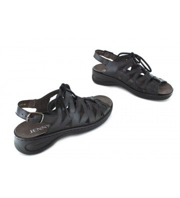 Jenny Shoes 22-56550 Korfu Sandalias de Mujer - NEGRO