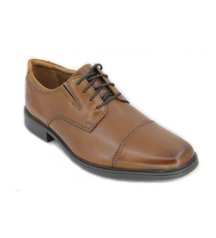 Clarks Tilden Cap - Zapatos con Cordones de Cuero Hombre, Color Marrón, Talla 42
