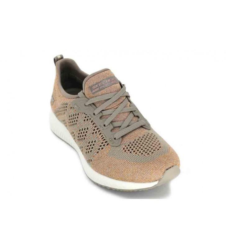 Skechers Bobs Squad-Hot Spark, Zapatillas sin Cordones para Mujer, Beige (Taupe), 35 EU