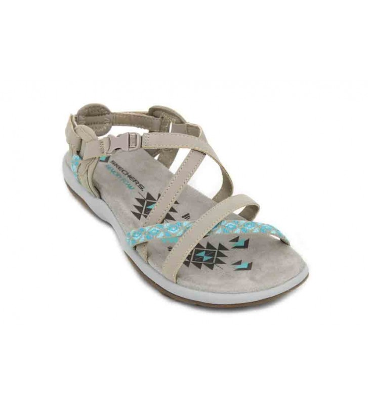 Zapatos beige casual Skechers Reggae para mujer 022Nx